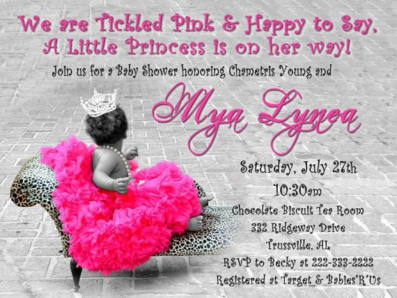 princess tutu and leopard baby shower invitation for girl