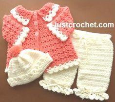 Free baby crochet pattern coat, pants and bobble hat usa