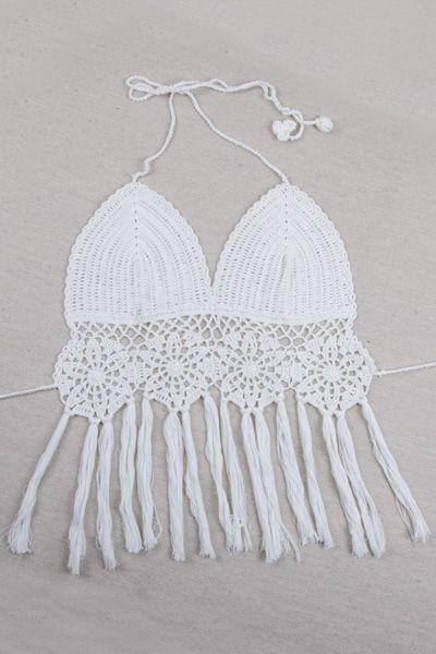 Crochet Halter Fringe Crop Top