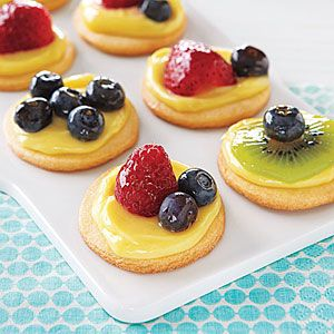 Mini Fruit Tartlets Recipe. to make this easier I think I will use the premade cheesecake filling with some lemon stirred in then just spread on the cookie