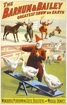 The Barnum & Bailey clowns and geese