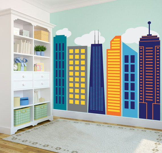 Bold Colorful Geometric City Skyline Large Wall By Danadecals, 95.00 Part 93