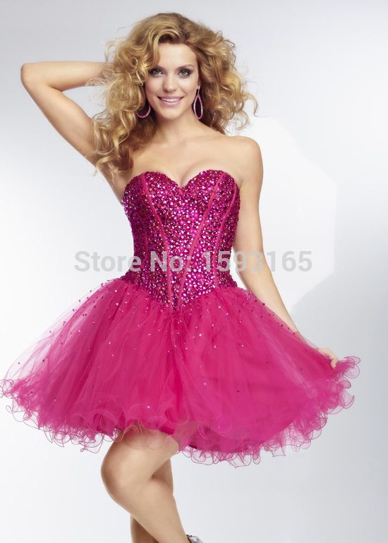 Organza short skirt Hot Pink Beaded Corset Sweetheart Cocktail Party Dresses 2015
