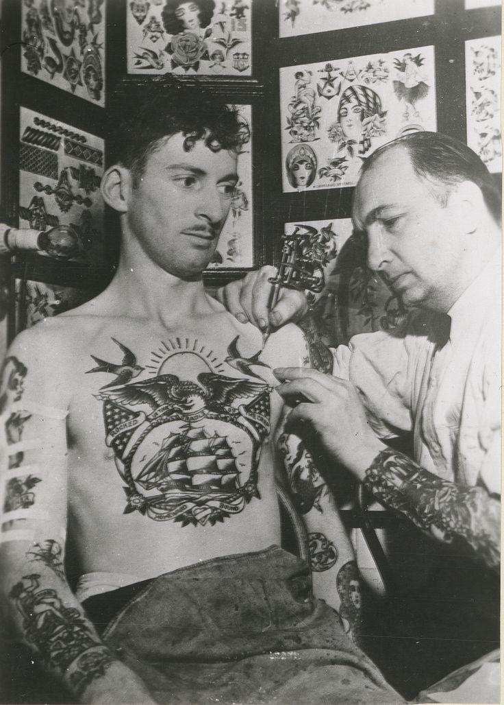 L.M. Brown, a sailor, tattooed by Owen Jenson. c. 1943