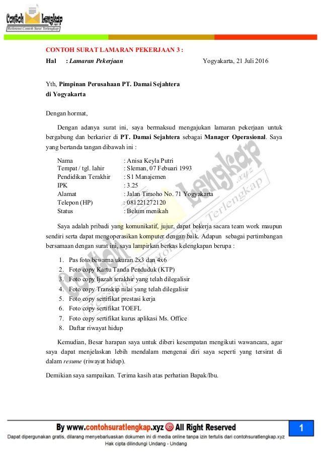 Contoh Surat Lamaran Kerja Manager Surat Keuangan Pimpinan