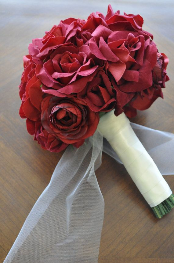 Red Wedding Bouquet by SterlingCottage on Etsy