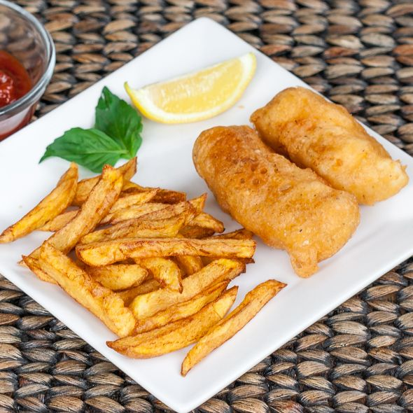 Homemade Fish and Chips (Made with beer battered haddock. Simply delicious!) (Ingredients:  Russet Potatoes.  For the Fish:  Flour, baking powder, cayenne pepper, Old Bay seasoning, brown beer, cornstarch & haddock.)  l  Jo Cooks