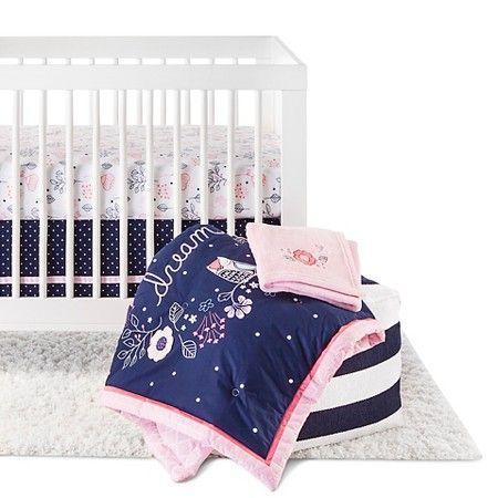 Circo 4pc Crib Bedding Set Navy N Pink Baby Girl