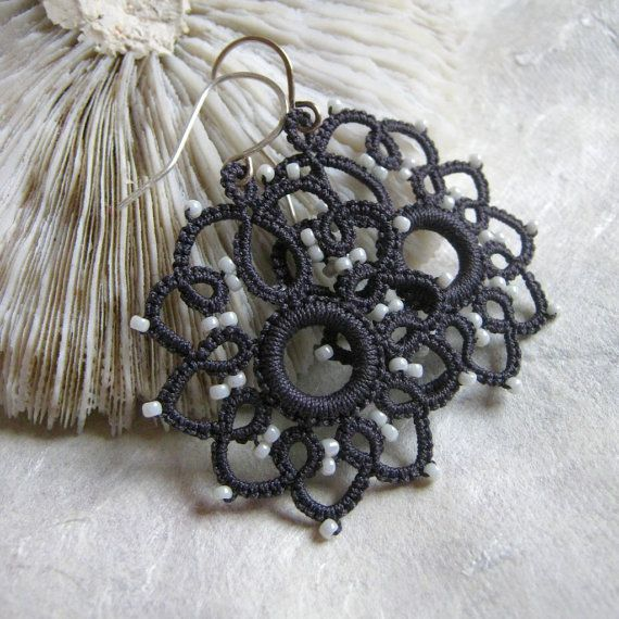 Charcoal Gray Tatted earrings with white cream seed di eannie