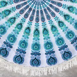 Sea Green Blue Round Tassel Mandala Beach Towel