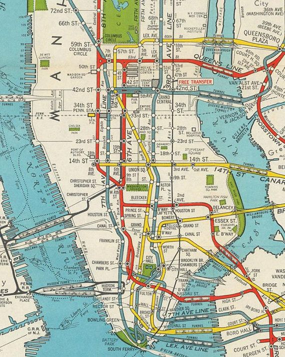 Antique New York City Map Print For Digital Download