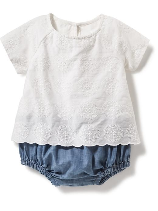 Embroidered Top Amp Chambray Bottom 2 In 1 Little Girls