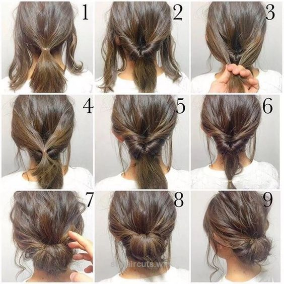 Splendid 5 Minute Hair Bun fashion hair diy hairdo updo hairstyle bun instructions directions step by step how to pictorial tutorial  The post  5 Minute Hair Bun fashion hair ..