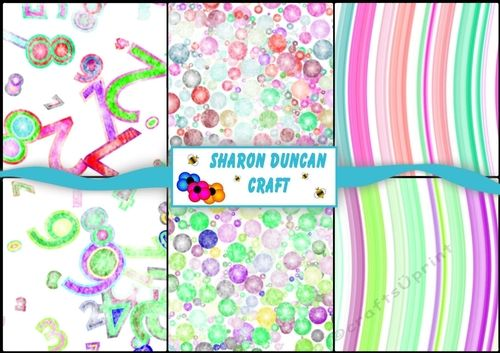 6 Assorted Bright Birthday Number Party Papers - A4 by Sharon Duncan 2 sets of number papers, 2 matching bubble papers and 2 matching wavy…