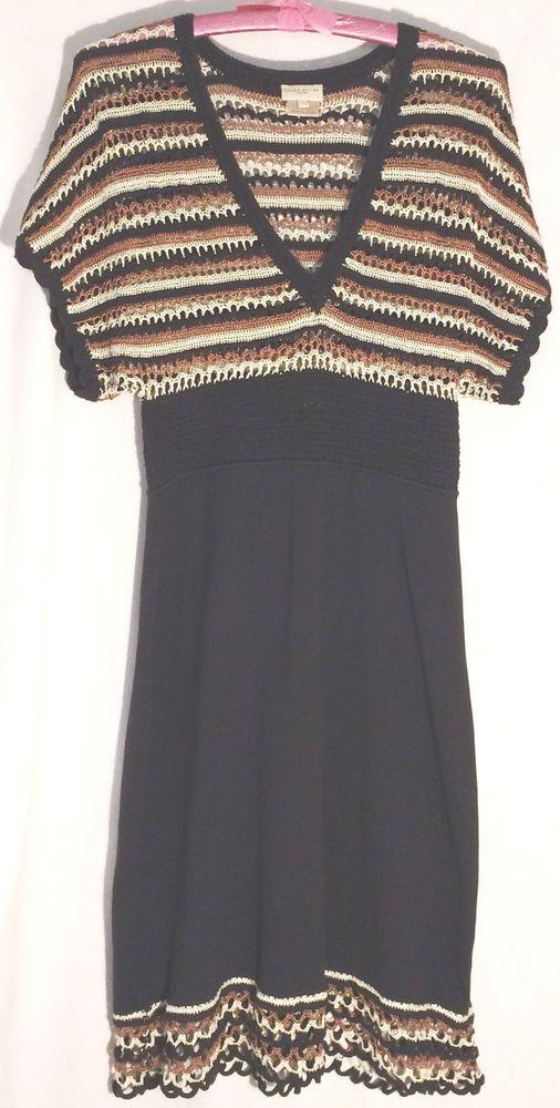 KAREN MILLER ENGLAND Black-Cream-Copper Knit Dress - Open Weave Bodice-Hem - S #KarenMillen #EmpireWaist #karen #millen #black #cream #copper #knit #dress #1 #S #small