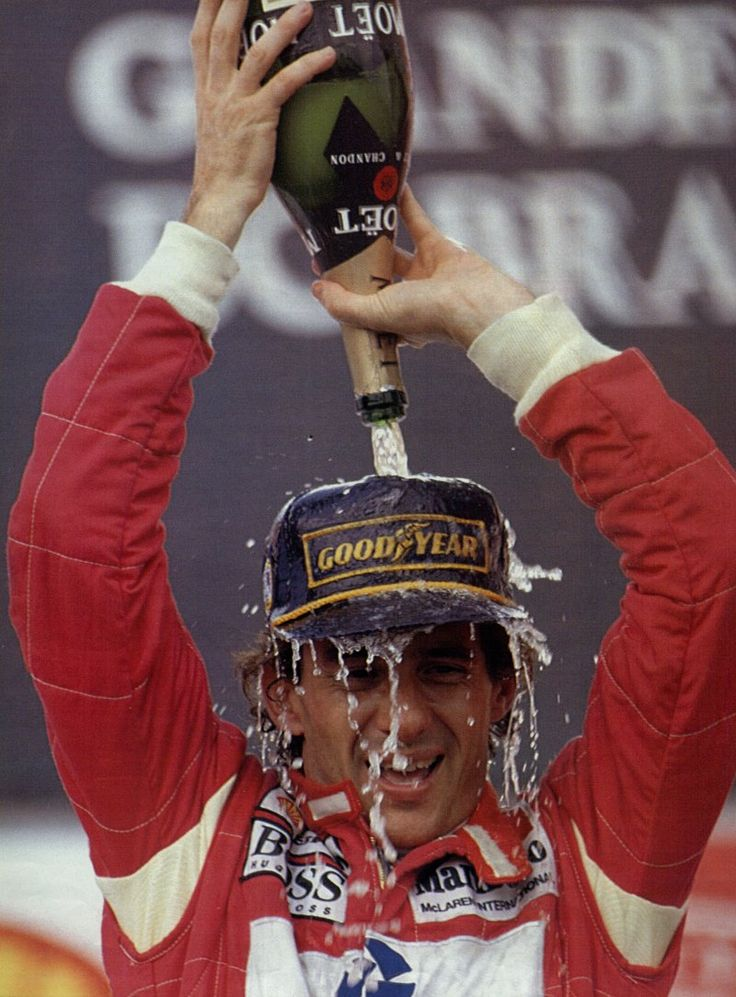 Ayrton Senna's first win in the Brazilian Grand Prix, with only 6th gear. Pain, Suffering and Glory.