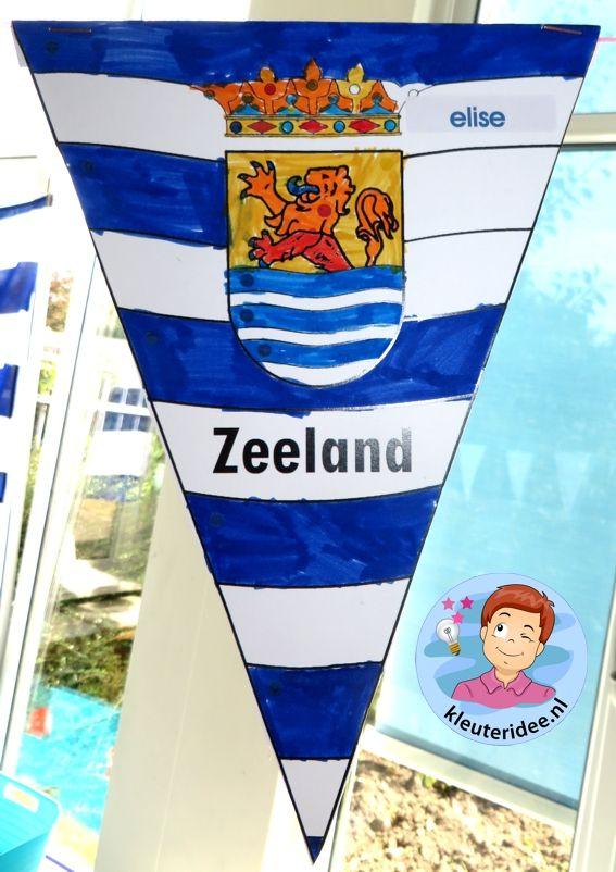 Kleuters maken de Zeeuwse vlag, vlaggenlijn, kleuteridee.nl