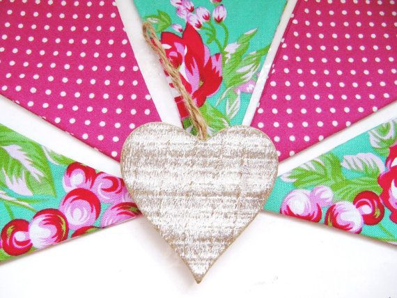 Lovely Cotton Fabric Bunting Jade Green and by LilyLovesShopping