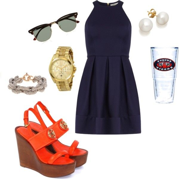 """Auburn Game"" by itstangie on Polyvore - I like this outfit, but I would not be wearing it for an Auburn game."