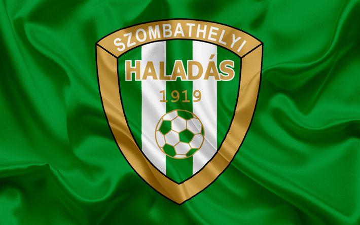 Descargar fondos de pantalla Haladas fc, húngaro equipo de fútbol, el emblema, Haladas logotipo, bandera de seda, Szombathely, Hungría, de fútbol, de la liga de fútbol de hungría