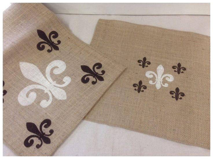 Burlap Table Runner U0026 (6) Placemats Set With Fleur De Lis Pattern By  CreativePlaces