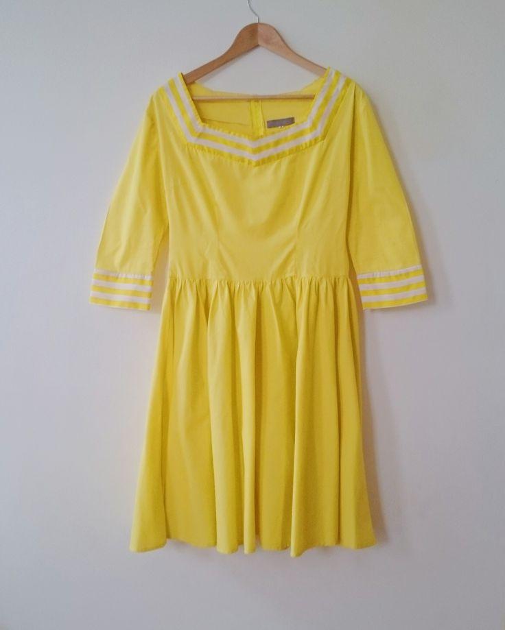 SUNSHINE YELLOW LADY K LOVES FIFTIES STYLE DRESS