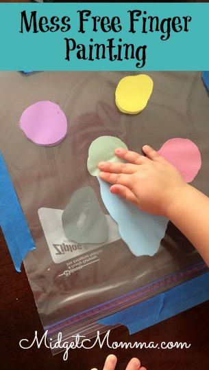If you have a toddler then you are going to LOVE this craft! No mess finger painting! Finger painting with out having to clean up the mess is a mothers dream! Easy to set up and then toss when they are done painting!