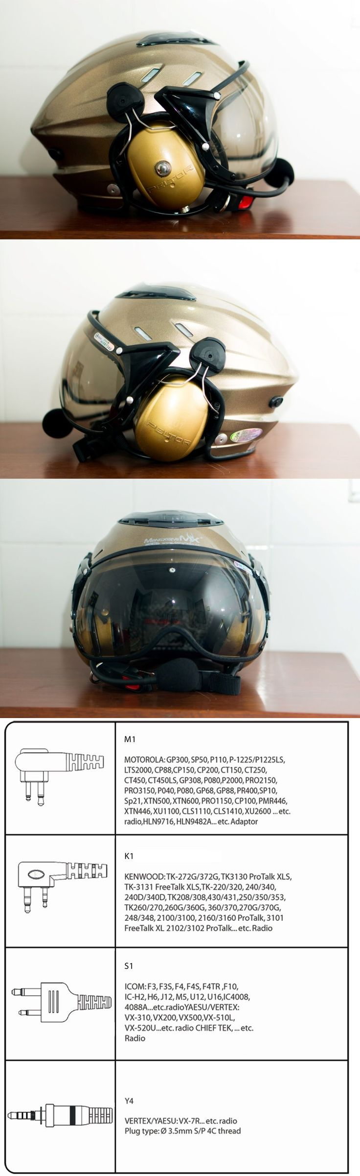 Hang Gliding and Paragliding 91561: Mx-02 Ppg Helmet Visor Powered Paragliding Paramotor Headset Gopro Base Golden BUY IT NOW ONLY: $269.0
