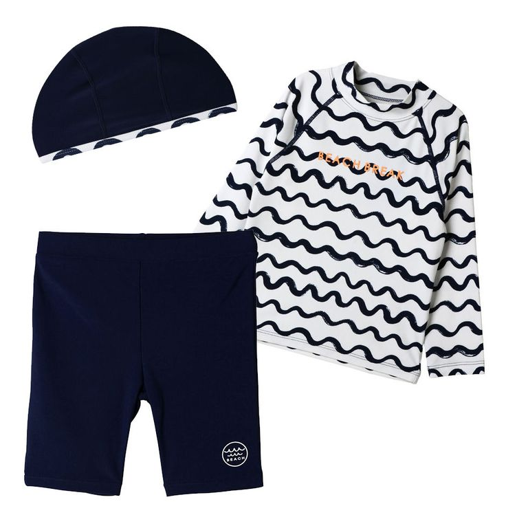 Topten10 KIDS BOY Summer Rash Guard Swimming Pants Hat Swimwear Set_4 options #Topten10 #SwimwearSet