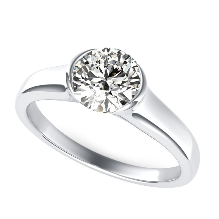 Tension Set Engagement Ring with Round Cut Diamond by 90210Jewelry.com ❤