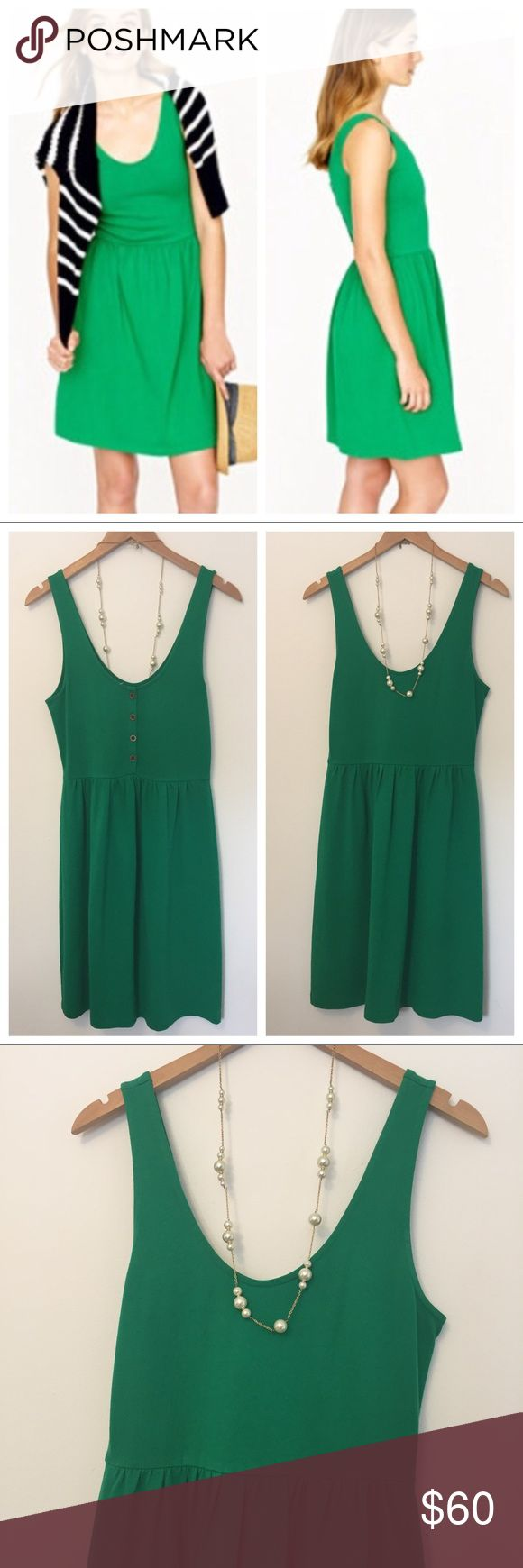 """J. Crew • Villa Tank Dress NWOT As easy as it gets. J. Crews cotton knit dress boasts a button-up back and a fitted bodice with a flirty skirt. Perfect for the beach or a backyard barbecue, this breezy little piece is the perfect alternative to shorts and a tee. No flaws, NWOT.   Cotton/rayon jersey. Falls to knee, 36 1/2"""" from high point of shoulder.  Bra keeps. Back button closure. Machine wash. J. Crew Dresses"""