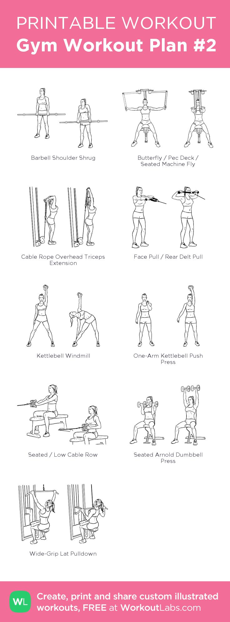 Gym Workout Plan #2:my visual workout created at WorkoutLabs.com • Click through to customize and download as a FREE PDF! #customworkout