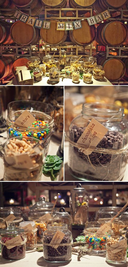 Trail mix bar - all you need is some jars and that would make a perfect favor.