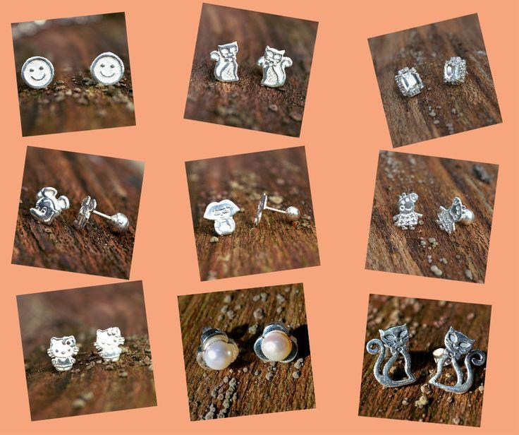 Schattige kleine zilveren oorstekers. http://www.dczilverjuwelier.nl/