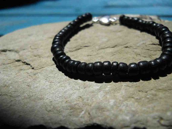 Handmade black coconut shell bead bracelet (BN22) with pretty silver metal heart charm, by FeekoByDesign, $4.50