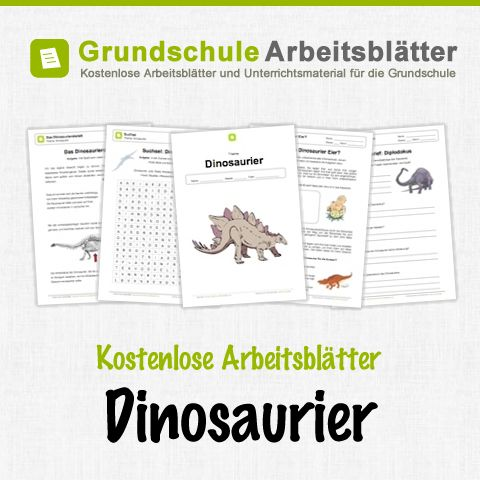 Free worksheets and teaching materials for the subject of dinosaurs in elementary school.