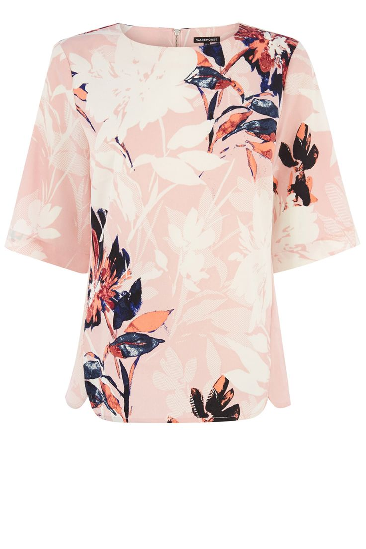 Clothing   Pink Placement Floral Elbow Top   Warehouse