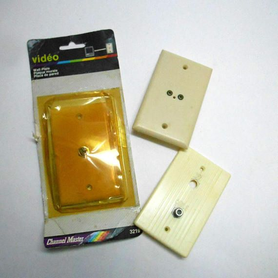vintage 3 pcs video cable wall outlet covers switch plate video cable walloutlet