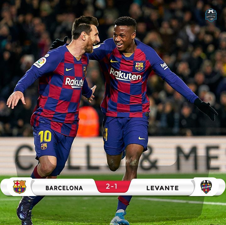Ft Barcelona 2 1 Levante La Liga 30 1 0 Ansu Fati Assist Lionel Messi 32 2 0 Ansu Fati Assist Lionel Messi 90 2 In 2020 Sports Jersey Football Sports