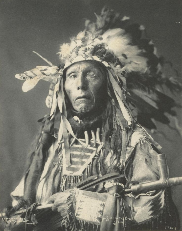 """Chief Shot-in-the-eye, 1899. """"Shot-in-the-Eye was an Oglala Sioux who fought in the Battle of the Little Bighorn in 1876, where he was wounded and lost an eye. What he was called prior to this battle is unknown."""