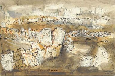 ✽ john piper - 'field road at weston, portland' - 1954 - black and coloured inks, watercolour and wax crayon - christie's