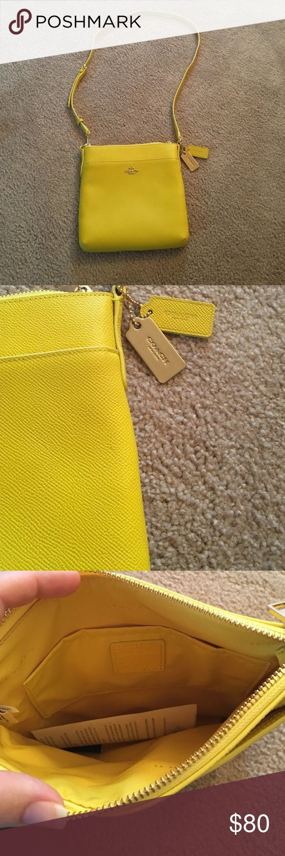 """Coach Swingpack Yellow swingpack - wear on shoulder or crossbody. Never used. Small mark, see picture.                                                                   7 3/4"""" (L) x 8 1/4"""" (H) x 1""""(W) Coach Bags Crossbody Bags"""