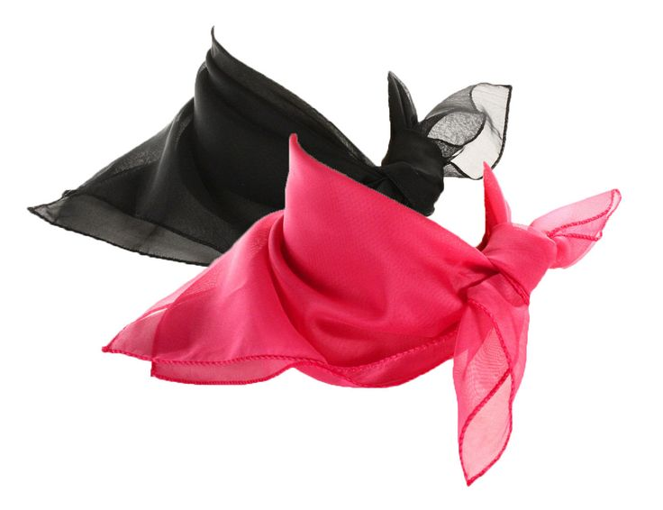 Black & Rose Pink Scarf Set - 2 Sheer Chiffon 50S Style Scarves - Hey Viv Retro