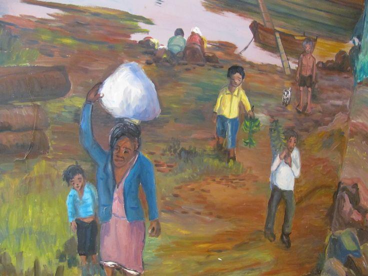 """""""Personajes de la costa"""" de Mandové Pedrozo, artista misionero, acá buscando trabajar los orígenes y modos de vida de la mayoría de las familias que hoy habitan el barrio donde trabajo, lavanderas, pescadores,etc."""
