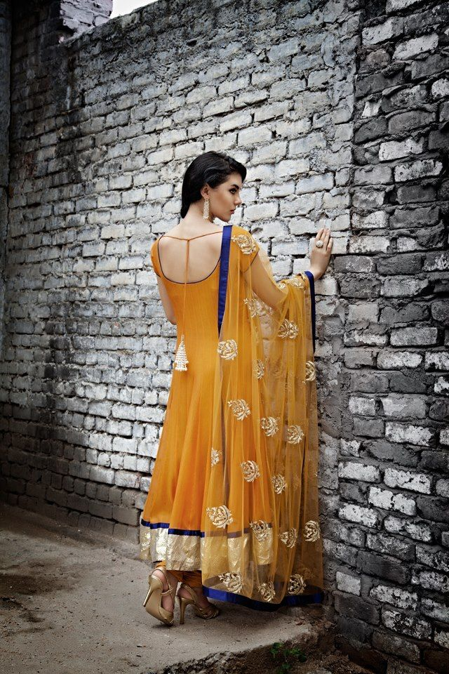 Pretty Punjabi suit Anarkali churidar in yellow, gold, and violet