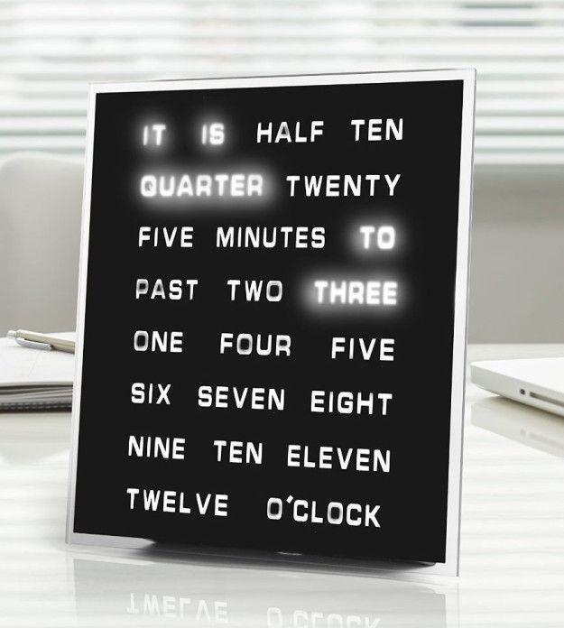 Um relógio único que seria bastante soletrar o tempo para você.