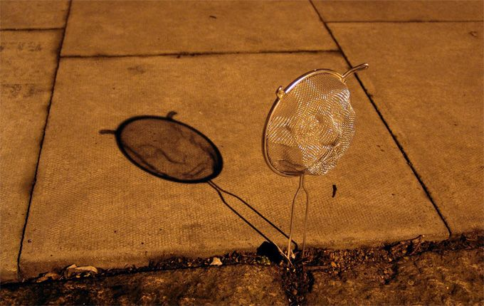 Wire Mesh Shadow Portraits by Isaac Cordal