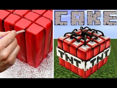 MINECRAFT TNT CAKE - How To Make by CakesStepbyStep - YouTube