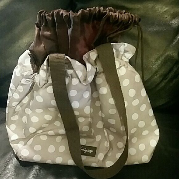 Cute in Polka Dots! Thirty One Lunch Bag! Like New Like new and used once! Cute as a button tan and white polka dots insulated bag! thirty one Bags