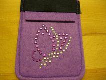 Smartphone-Tasche Filz mit Schmetterling